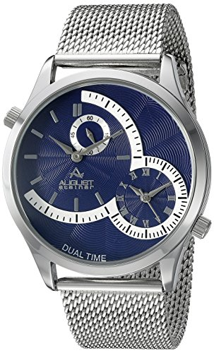 August Steiner Men's AS8168SSBU Silver Dual Time Zone Quartz Watch with Blue Dial and Silver Mesh Bracelet Dual Time Quartz Watch