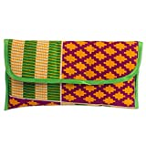 NOVICA Multicolored Cotton Clutch Handbag, 'Kente Joy'