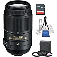 Nikon AF-S DX NIKKOR 55-300mm f/4.5-5.6G ED Vibration Reduction Zoom Lens with Auto Focus for plus free three piece filter kit , table top tripod , lens cleaning kit , screen protectors , 16gb sd card