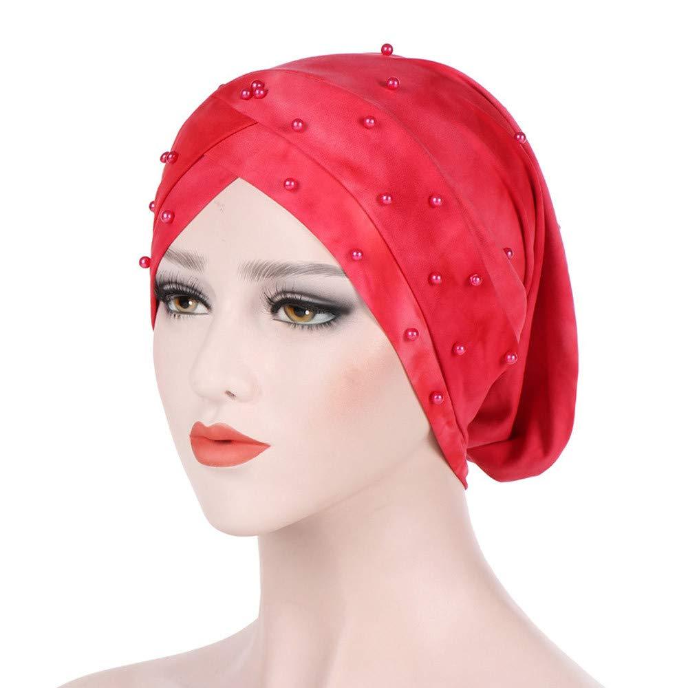 Women The Cap in Ruffle Fabric Chemo Caps Cancer Hat Chemo Beanie Turban  Wrap Cap (Orange)  Beauty 5850893e3dc6