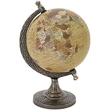 "Deco 79 68846 Elegant And Stunning Metal PVC Globe, 7"" W x 10"" H"