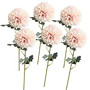 AOCOA 6Pcs Artificial Flowers Large Chrysanthemum Ball Bouquet Fake Hydrangea Silk Heads with Stems for Home Garden Party Wedding Decorations 61