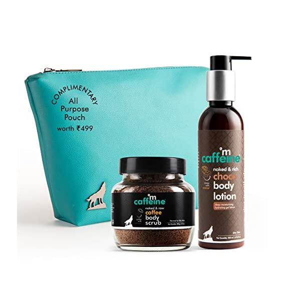 mCaffeine Coffee-Choco Cocktail Kit | Free All Purpose Teal Pouch | Relax & De-stress | Body Scrub, Body Lotion |Paraben & SLS Free