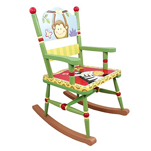 Fantasy Fields - Sunny Safari Animals Thematic Kids Wooden Rocking Chair | Imagination Inspiring Hand Crafted & Hand Painted Details   Non-Toxic, Lead Free Water-based - Jungle Hand Chair Childrens Painted