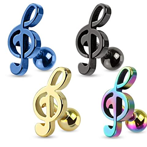 Treble Clef Music Note Tragus/cartilage Piercing Stud Ion Plated Over 316l Surgical Steel, Rainbow, Each Sold (Music Note Cartilage)