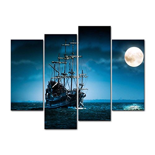 Canvas Print Wall Art Decor Seascape Picture Full Moon Night Sea Pictures Ship Artwork Blue Ocean Poster Prints Stretched On Wooden Frame 4 Panel Image for Home Living Room Office Decoration