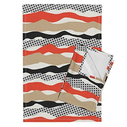 (Big Print Tea Towels Wavy Stripe Waves & Ripples Orange Black Cream Big Print 60S Eclectic Ripples Orange Mod by Mapmapart Set of 2 Linen Cotton Tea Towels)