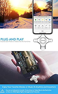 iDiskk 64GB Flash Drive for iPhone X iPad Lightning iOS 11 USB 3.0 Multi Functional Lightning External iPhone Storage for iPhone X MacBook Samsung Android Phones Type c Cameras and Laptop