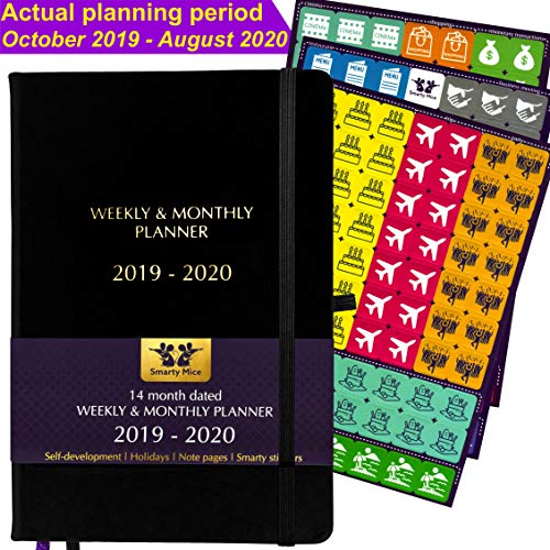 2019-2020 Planner October 2019 - August 2020 (July, August, September 2019 as Free Bonus), Stickers, Thick Paper, Hardcover, Back Pocket, Weekly & Monthly Productivity Academic Goal Organizer (Black)