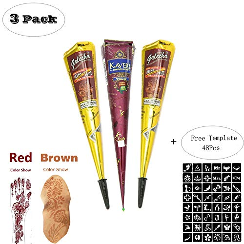 ZEYER Temporary Tattoo Stencils/Paste Cone Temporary Red Brown Paste Cones for Body Art Drawing Painting with 48 x Adhesive Stencil Set