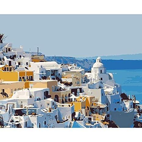WACYDSD Isola di Santorini Grecia Disegno di Numeri Dipinti su Tela ...