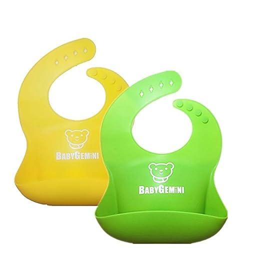 Amazon.com  BABYGEMINI Waterproof Silicone Bib Set of 2 Pack - Easy ... 9a369a50e