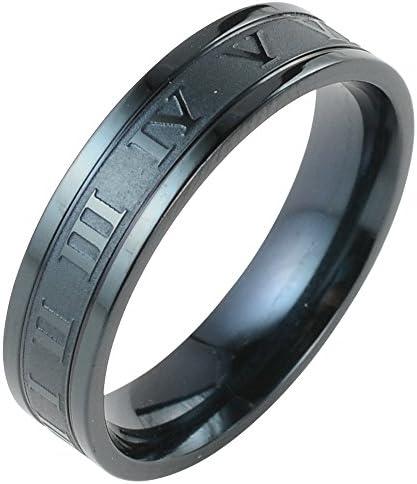 ローマ数字 リング メンズ 指輪 シンプル ステンレス ブラック ペアリング レディース アクセサリー 28号 29号 31号 6mm (23)
