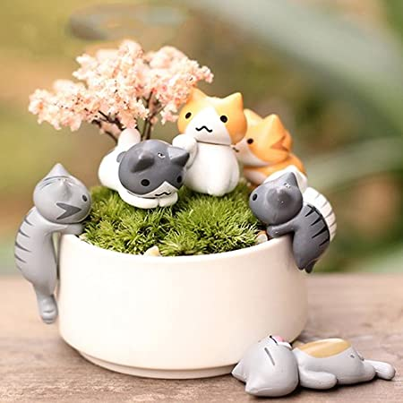 Mini Cat Pet Statue Garden Ornament Miniature Figurine Resin Fairy MC