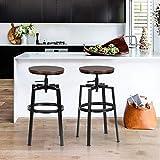 FurnitureR Juego de 2 taburetes de Bar Industrial de Madera Vintage, giratorios, Altura Ajustable Negro