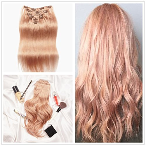 Alizée Real Human Hair Products Rose Gold Color Clip in Hair Extensions Light Pink Red on Strawberry Blonde Dip Dye Straight Remy Hair 120 Gram 7pcs/set Full Head 18 Inch