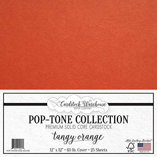 Tangy Orange Cardstock Paper - 12 x 12 inch 65 lb. Premium Cover - 25 Sheets from Cardstock Warehouse]()