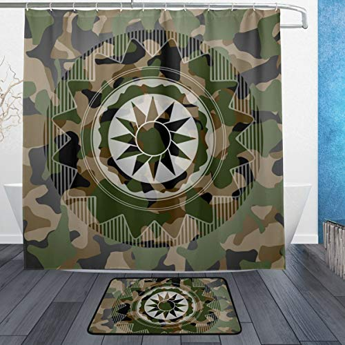 CANCAKA Sun Icon On Camouflaged Texture Waterproof Shower Curtain Set with Matching Non-Slip Bath Rug 60x72inches