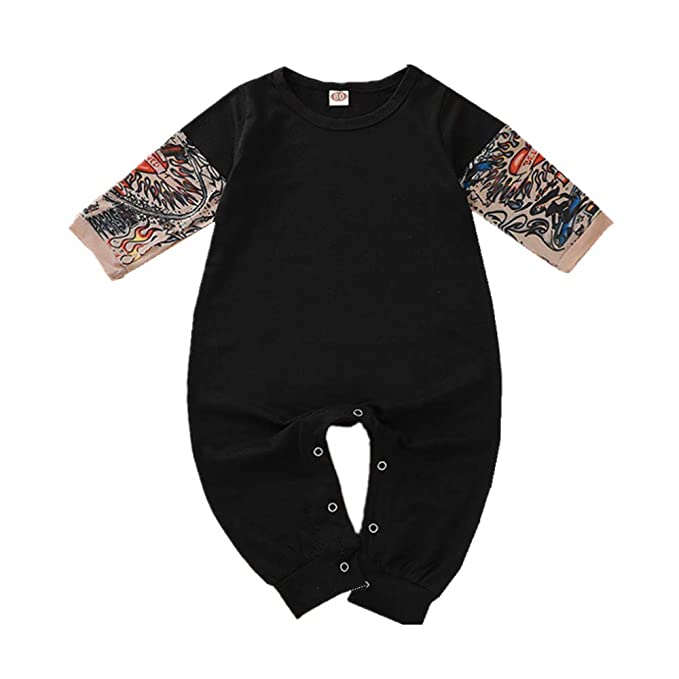 Baby Products puseky Newborn Baby Tattoo Print Long Sleeve Romper Jumpsuit Bodysuit Clothes Baby Clothing