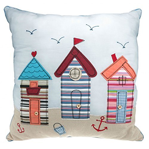 Just Contempo Beach Hut Filled Cushion, Blue, 16x16 inches by Just - Just Hut