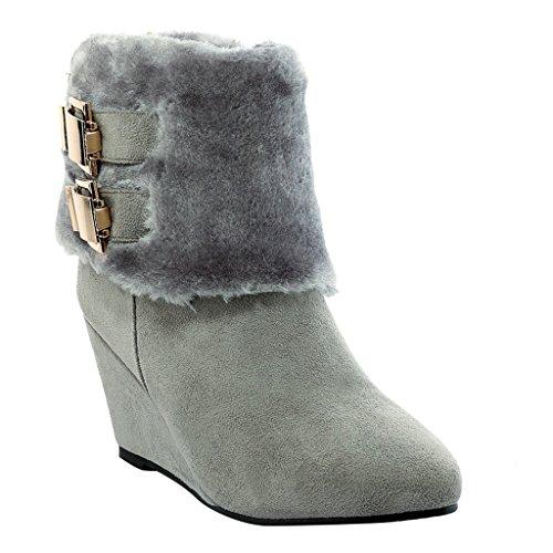Winter Platform Boots Wedge Faux Snow Gray Womens Eclimb Heel Fur Boots Wqw8FSStHx