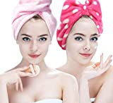 Microfiber Hair Towel with Headband 2-in-1 Kit Hairizone Turban Wraps Towel and Face Wash Hair Band for Daily Routine (Pink/Fuchsia)