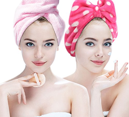 Microfiber Hair Towel with Headband 2-in-1 Kit Hairizone Turban Wraps Towel and Face Wash Hair Band for Daily Routine (Pink/Fuchsia) by Hairizone