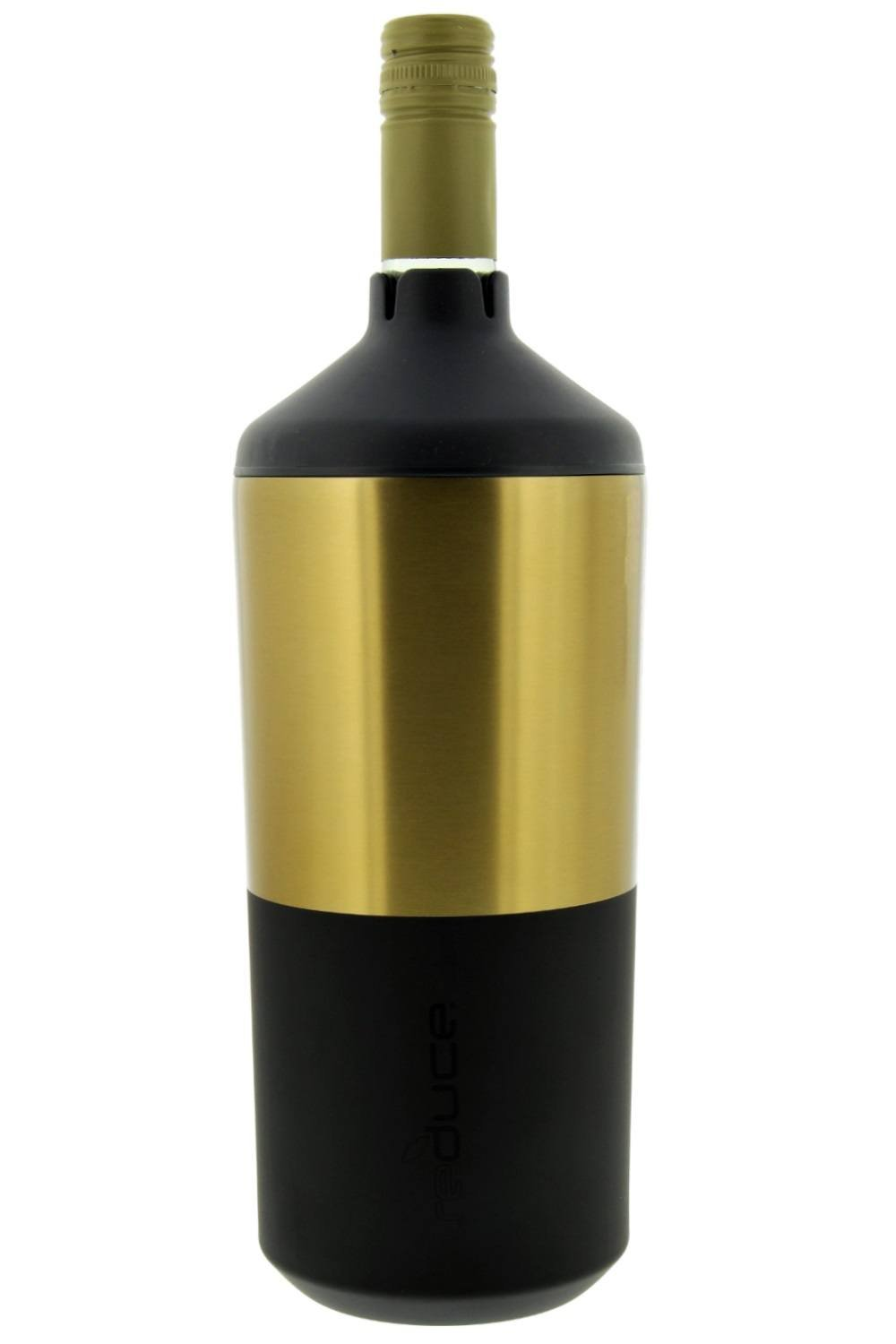 Portable Wine Bottle Cooler by REDUCE - Stainless Steel, Insulated Chiller to Keep Wine at the Perfect Temperature, No Ice Required - Ideal for Outdoor Summer Parties, Fits Most Wine Bottles - Black