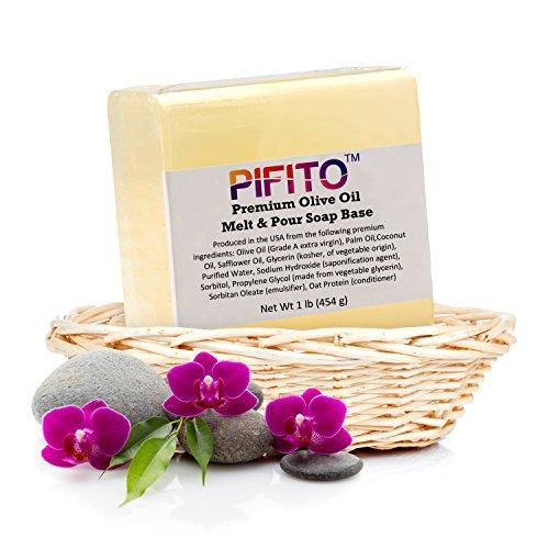Pifito Premium Olive Oil Melt and Pour Soap Base (2 lb) - Natural Vegetable Glycerin Soap Base - Excellent Hand Soap Making Supplies (Base Olive)