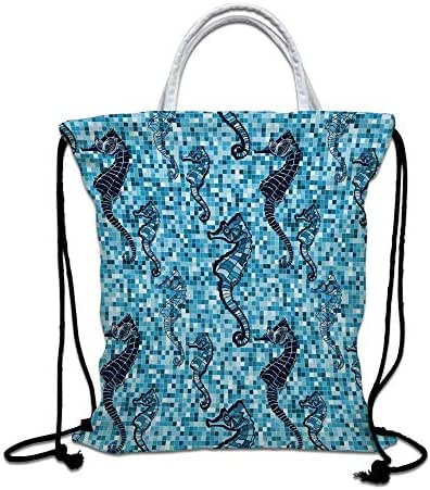Animal Decor Drawstring Bag waterproof, Mosaic Tile Pattern Nautical Ocean Life Maritime Organism Beauty Art Print Lightweight Gym Sackpack for Hiking Yoga Gym Swimming Travel Beach,Navy Turquoise
