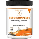 Keto Supplement - Exogenous Ketones (BHB) + 4g BCAA - Ideal for Ketosis Diet, Fat Burning, Energy, Performance & Focus - Orange Mango Flavor Drink Powder - Sapien Labs