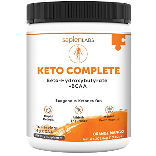 Keto Supplement – Exogenous Ketones (BHB) + 4g BCAA – Ideal for Ketosis Diet, Energy, Performance & Focus – Orange Mango Flavor Drink Powder – Sapien Labs