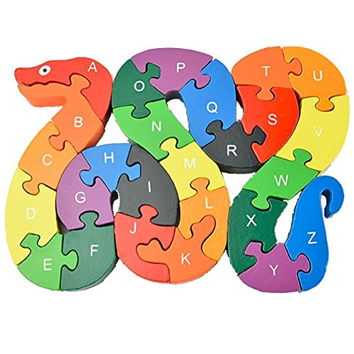 Alphabet Jigsaw Puzzle, Cafurty Wooden Snake Letters Numbers Block Toys for Preschool Children Boys Girls Kids to Develop Intellectual Powers - Snake (Alphabet Photo Puzzles)
