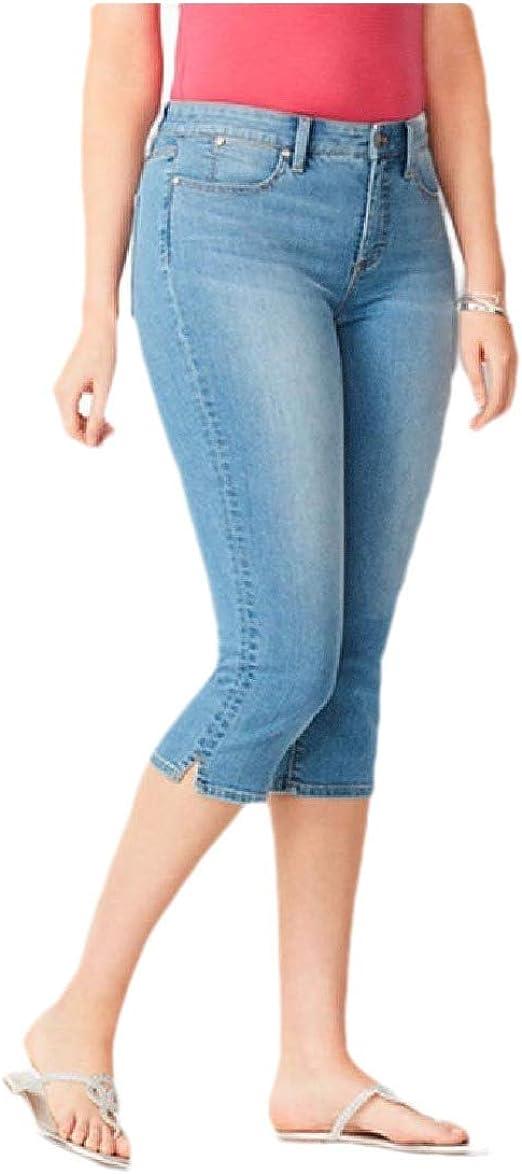 Romancly Women's Fit Washed Middle Waist Carpi Pants Denim Pants with Pockets