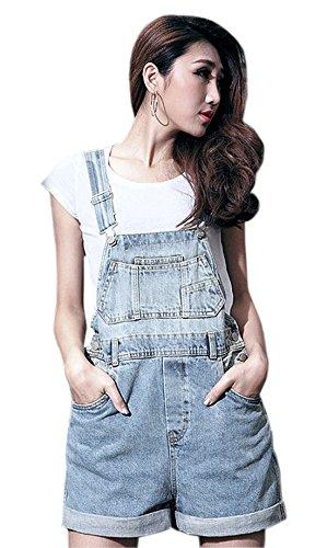 Chouyatou Women's Washed Denim Straps Rompers Jean Short Jumpsuit (Medium, Blue) - Vintage Overalls