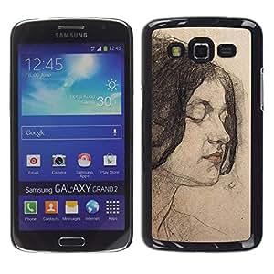 Caucho caso de Shell duro de la cubierta de accesorios de protección BY RAYDREAMMM - Samsung Galaxy Grand 2 SM-G7102 SM-G7105 - Portrait Woman Brunette