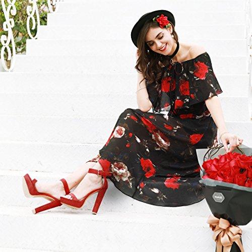 Ankle K Platform Heels Strap Red Women High Allegra wEf8qCx