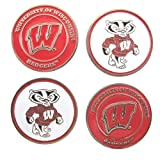 Wisconsin Badgers NCAA Double Sided Golf Ball Markers (4 Pack)