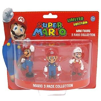 BG Games Mario - juguetes y figuras de videojuegos (Azul, Rojo, Color blanco)) - Figura Pack 3 mini figuras Super Mario