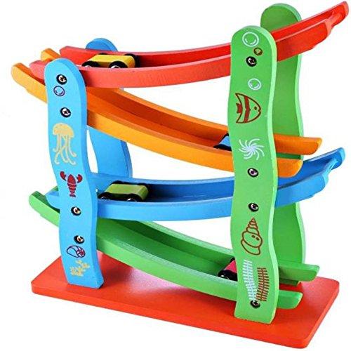 Mayatra #39;s 4 Level Wooden Ramp Racer Miniature Games Speeding Car Toy, Race Track Set, Kids 3+Years  Multicolor