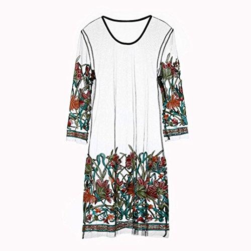 Con Vintage Mesh Abito Trasparenti Floreali Nero Lace vestiti Decorazioni Womens gonne Boho Abito Ricamato Yanhoo wC4vSAxqx