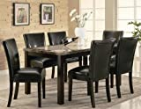 7pc Dining Table and Black Parson Chairs Set in Deep Cappuccino Finish