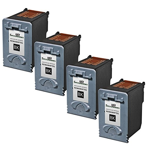 Speedy Inks - 4pk Remanufactured Replacement for HP CC635A 701 Black Ink Cartridge for use in HP FAX 640, FAX 650, FAX 2140