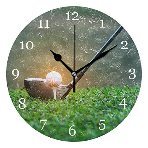 Club Clock Golf - KUWT Sport Golf Ball Club Wall Clock Silent Non-Ticking 9.5 Inch Round Clock Acrylic Art Painting Home Office School Decor
