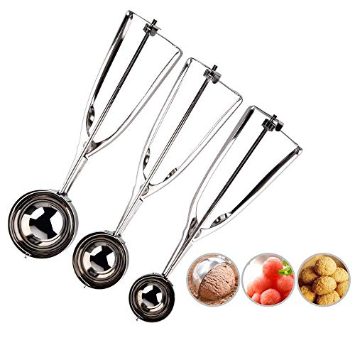 BASEIN Ice Cream Scoop 18/8 Stainless Steel Ice Cream Scooper Cookie/Cupcake Scoop with Trigger Release Meat/Melon Baller -3 Pack with Large-Medium-Small Size