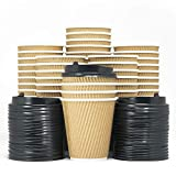 Kitchen & Housewares : 12-OZ Triple Walled Disposable Coffee Cups with Lids 90 Set - No Sleeves Required - Ripple Insulated Kraft Paper Cups for Hot Beverage To Go, No Leak! Eco-Friendly Recyclable Durable Paper