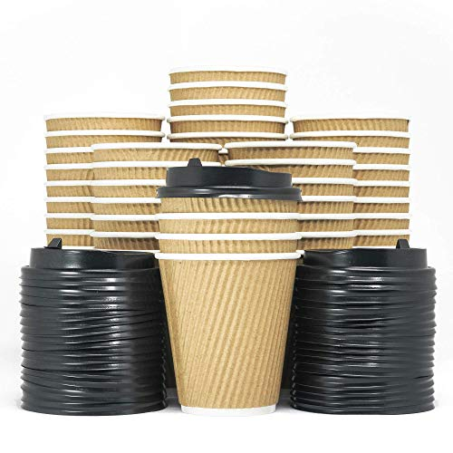 - 12-OZ Triple Walled Disposable Coffee Cups with Lids 90 Set - No Sleeves Required - Ripple Insulated Kraft Paper Cups for Hot Beverage To Go, No Leak! Eco-Friendly Recyclable Durable Paper