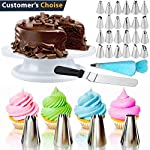 Cake Decorating Supplies 36 Pieces Cake Supplies with Revolving Plastic Turntable, 24 Stainless Steel Decorating Tips, 3 Plastic Scrapers, Icing Spatular, Pastry Bag 19 EVERYTHING NEEDED TO DECORATE CAKE - Cake turntable stand, 24 Stainless Steel icing Tip set, 1 Cake Decorating Turntable 11 inch , 1 Icing Spatula With Sided 11 inch, 1 Reusable Silicone Pastry Bags, 1 Cake Tip Brush,1 Cake Flower Lifter,1 Cake Pen, 3 Cake Scrapers, 1Piping Tip Coupler, 20 Disposable Pastry Bag. A MUST HAVE STAND FOR BAKING LOVERS - Make beautiful cakes with the Growses cake decorating supplies package. The rotating Cake decorating stand help you to easily decorate round cakes and other desserts for birthdays, parties, weddings and other events. The Round Turntable is robust, made from non sticky plastic, non-toxic, dishwasher safe, ideal for beginners as well as for professionals. MORE ICING BAGS FOR USING - 1 pastry bag and 1 disposable pastry bags, perfect for decorating with milti-color cream, Plastic Couplers can be easier to change piping tips.