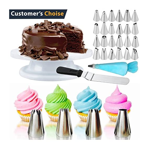 Cake Decorating Supplies 36 Pieces Cake Supplies with Revolving Plastic Turntable, 24 Stainless Steel Decorating Tips, 3 Plastic Scrapers, Icing Spatular, Pastry Bag 1 EVERYTHING NEEDED TO DECORATE CAKE - Cake turntable stand, 24 Stainless Steel icing Tip set, 1 Cake Decorating Turntable 11 inch , 1 Icing Spatula With Sided 11 inch, 1 Reusable Silicone Pastry Bags, 1 Cake Tip Brush,1 Cake Flower Lifter,1 Cake Pen, 3 Cake Scrapers, 1Piping Tip Coupler, 20 Disposable Pastry Bag. A MUST HAVE STAND FOR BAKING LOVERS - Make beautiful cakes with the Growses cake decorating supplies package. The rotating Cake decorating stand help you to easily decorate round cakes and other desserts for birthdays, parties, weddings and other events. The Round Turntable is robust, made from non sticky plastic, non-toxic, dishwasher safe, ideal for beginners as well as for professionals. MORE ICING BAGS FOR USING - 1 pastry bag and 1 disposable pastry bags, perfect for decorating with milti-color cream, Plastic Couplers can be easier to change piping tips.