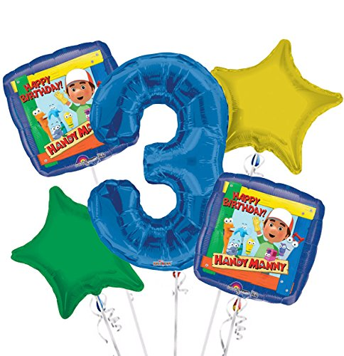 Handy Manny Balloon Bouquet 3rd Birthday 5 pcs - Party Supplies